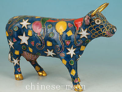 Chinese Old Cloisonne Handmade Carved Flower oxen Statue Ornament