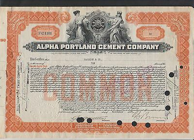 1925 Alpha Portland Cement Co., Stock Certificate  ABNC