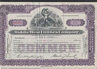 1931 Middle West Utilities Company  Stock Certificate  WBNC