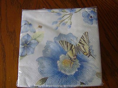 Lenox Butterfly Meadow Blue Paper 3-Ply Beverage Napkins Set of 40 New
