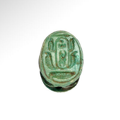 Egyptian Steatite Scarab, Throne Name of Thutmoses III, c. 1550-1307 with C.O.A.