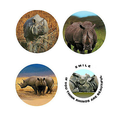 Rhinoceros Magnets: 4 Cool Rhinos for your Fridge or Collection-A Great Gift