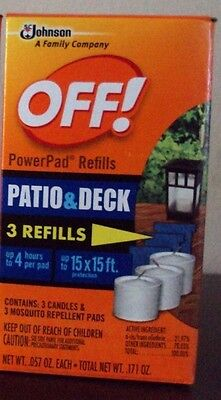 Off PowerPad Mosquito Repellent Lamp Refill (1 Box of 3 Candles/Pads)
