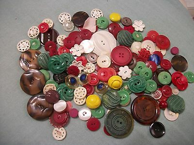 Large Lot All Plastic Buttons Mixed Colors And Designs