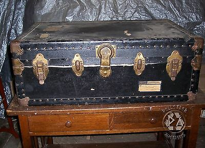 Antique Vintage Footlocker Flat Top Railway Express Trunk Black Military No Key