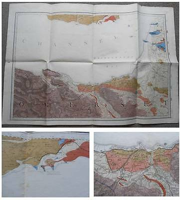1884 Hand Coloured GEOLOGICAL MAP of NORTH SOMERSET Watchet Minehead GEOLOGY