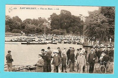 carte postale 10 angleterre east molesey the river animee