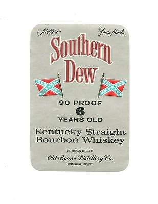 Southern Dew Kentucky Straight Whiskey Vintage Label with Flag Old Boone Unused