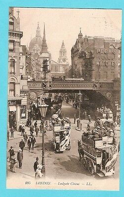 carte postale ancienne 2 angleterre londres ludgate circus