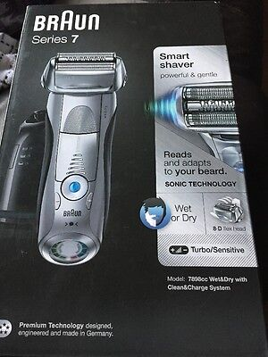 braun series 7 model 7898cc wet dry clean charge station shaver mens