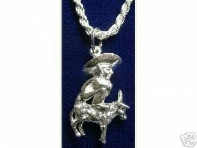 LOOK Mexican Mexico sombrero Donkey Silver Charm Jewelry