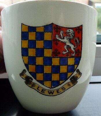 Crested China W.h. Goss Model Of Coffee Cup Lewes Crest