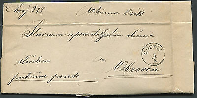 Croatia 1878 pre-stamp folded letter from Gospic to Obrovazzo