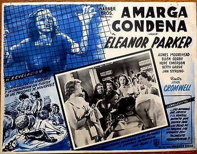 CAGED Orig 1950 PRISON Mexican Lobby Card ELEANOR PARKER BETTY GARDE