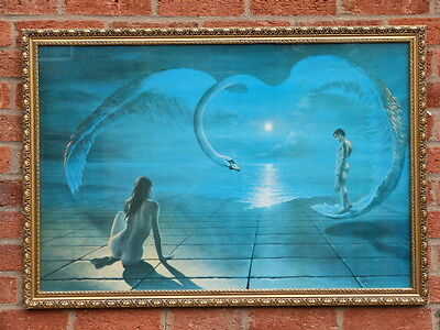 "Original Vintage Iconic Large Glazed Framed Print ""wings Of Love"" D.pearson 1972"