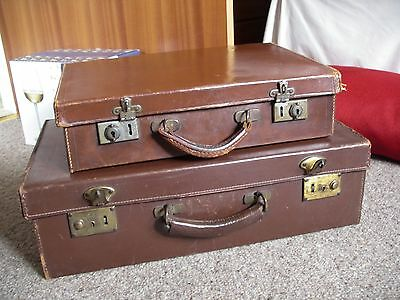 2 Vintage Leather Suitcases