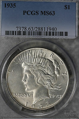 Better Date Uncirculated 1935 Peace Dollar - PCGS MS63