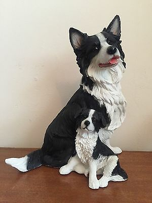 Border Collie Dog And Pup Figure By Leonardo