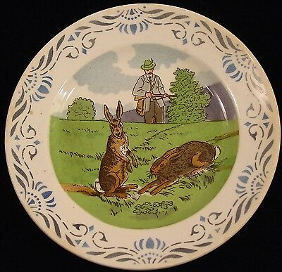 "Villeroy & Boch Antique Hunter & Rabbits 1874-1909 6 3/8"" Plate"
