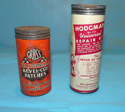 2  Vintage Tube Patch Kit Tins, Gross and Hodgman's