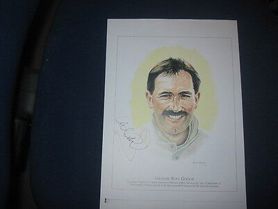 A4 Signed Print/drawing Of Graham Gooch   Essex Ccc/england