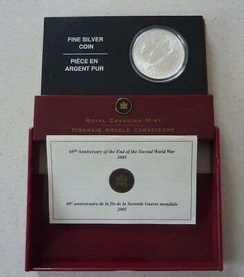 2005 CANADA SILVER PROOF 5 DOLLARS  - 2nd WORLD WAR ANN. - BOXED WITH COA