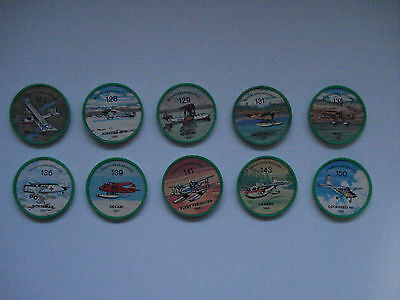 Jell-O Promotion Lot Of 10 Plastic Coins Green Color Bushplanes Airplane Vintage