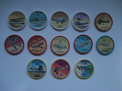 Jell-O Promotion Lot Of 13 Plastic Coins Mixted Color Airplane Vintage