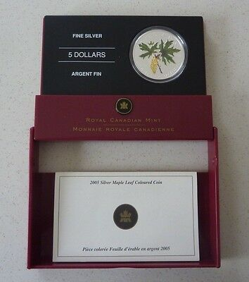 2005 Canada Silver Proof 5 Dollars  - Coloured Maple Leaf - Boxed With Coa
