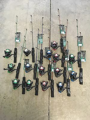 """3  Ice Fishing Rod & Reel Combos 24"""" Super Light Rod Spinning Reel (3 Combos)"""
