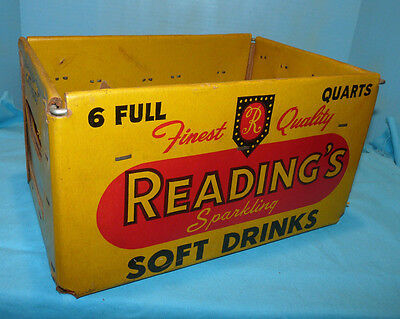 Readings Sparkling Soft Drinks Wire & Cardboard 6-Full Quarts Container Crate