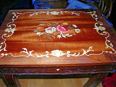 As  Is Vintage Italy Inlaid Wood Reuge Swiss Music Box Jewelry Table
