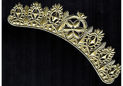 CROWN SMALL SILVER DRESDEN  PAPER GERMANY METALLIC FOIL EMBOSSED ORNATE CARD ART