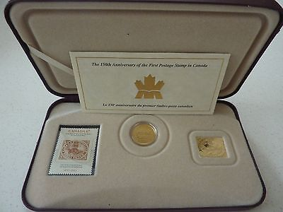 2001 CANADA 3c COIN & STAMP SET - 150TH ANN.  - BOXED WITH COA