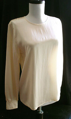 Jaeger vintage cream 100% silk blouse top 8 70s 80s