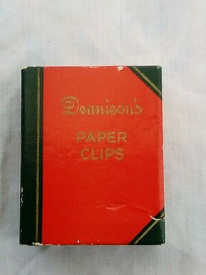 Old cardboard box Dennison's Paper Clips like a book used