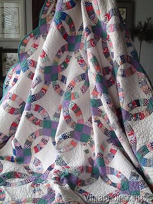 Small Scale! Vintage 30s Double Wedding Ring QUILT Charming Fabrics 74x74""