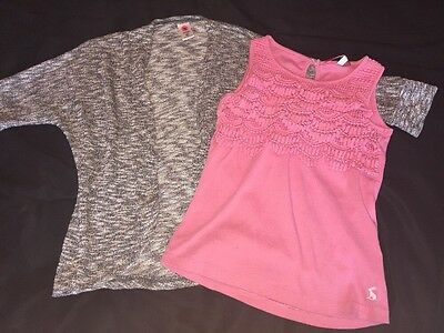 Girls 6-7 Gray Open 3/4 Cardigan And Pink Tank Outfit Set Joules Total Girl EUC