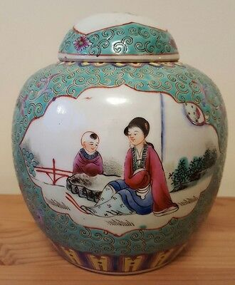 Beautifully decorated antique chinese ginger jar.