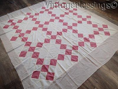 "Classic Antique c1880 Pink & Shirting Prints QUILT TOP 76"" x 69"""