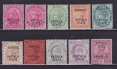 India Patiala State selection of Mint stamps