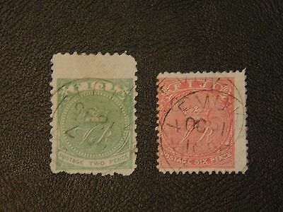 Fiji Stamp SG 40&59 FU issued 1881-1896 2d perf 10 SG40,6d perf 11x11.75 SG59.