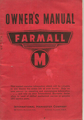 International Harvester Farmall M Tractor Owner's Manual