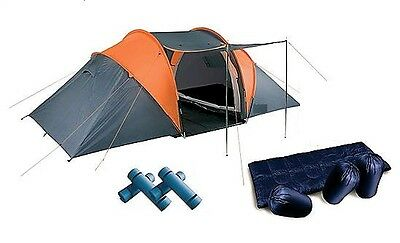 4 Man Tunnel Tent, Sleeping Bags & Camping Mats - Family Pack, 2 Bedrooms, Grey