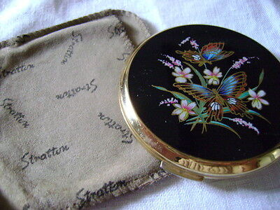 Vintage Stratton Powder Compact & Sachet, Butterflies & Flowers, Butterfly