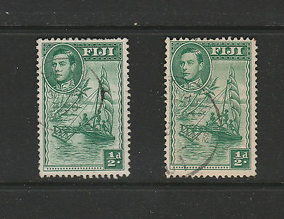 FIJI 1948 SG249b 1/2d GREEN 2 USED COPIES AS SCANNED