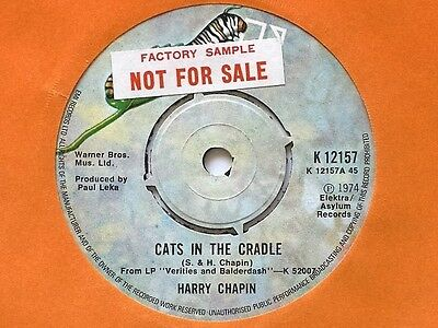 "Harry Chapin - Cats In The Cradle - 7"" Vinyl -Elektra Label + Sleeve -Promo Copy"