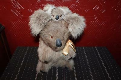 "Vintage NWT 13"" Hard Body Koala Bear Australia Kangaroo W/ Baby Fur Collectible"