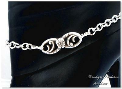 Boot Bracelet Silver Floral Metal Chain Handmade Reclaimed Brighton Jewelry