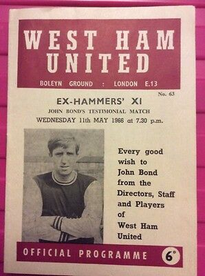 West Ham United V Ex-Hammers Xi ~ John Bonds Testimonial Match ~ Excellent Cond